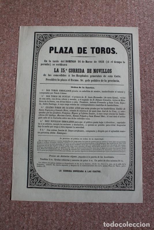 CARTEL DE TOROS DE MADRID. 16 DE MARZO DE 1851. HOSPITALES GENERALES. TOMÁS COBANO. (Coleccionismo - Carteles Gran Formato - Carteles Toros)