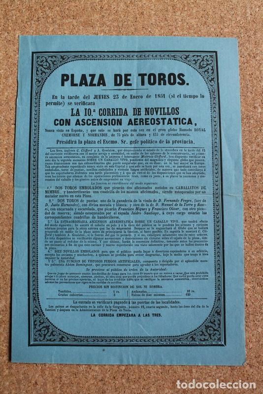 CARTEL DE TOROS DE MADRID. 23 DE ENERO DE 1851. ISIDRO SANTIAGO. GLOBO ROYAL CREMORNE Y NORMANDIE (Coleccionismo - Carteles Gran Formato - Carteles Toros)