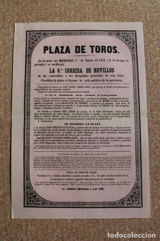 CARTEL DE TOROS DE MADRID. 1 DE ENERO DE 1851. ISIDRO SANTIAGO. HOSPITALES GENERALES (Coleccionismo - Carteles Gran Formato - Carteles Toros)