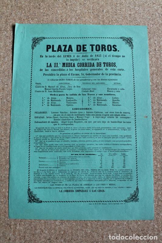 CARTEL DE TOROS DE MADRID. 4 DE JULIO DE 1853. JULIÁN CASAS, CAYETANO SANZ Y MANUEL TRIGO. (Coleccionismo - Carteles Gran Formato - Carteles Toros)
