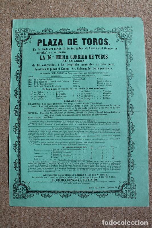 CARTEL DE TOROS DE MADRID. 13 DE SEPTIEMBRE DE 1852. CÚCHARES, MANUEL DÍAZ LABI Y M. ARJONA GUILLÉN (Coleccionismo - Carteles Gran Formato - Carteles Toros)