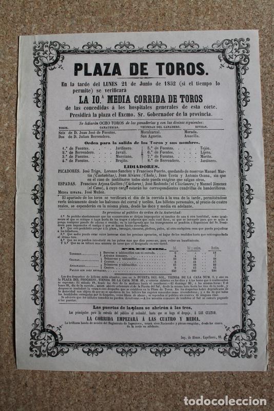 CARTEL DE TOROS DE MADRID. 21 DE JUNIO DE 1852. CÚCHARES, JOSÉ REDONDO EL CHICLANERO Y M. J. EL CANO (Coleccionismo - Carteles Gran Formato - Carteles Toros)