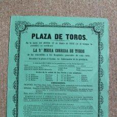 Carteles Toros: CARTEL DE TOROS DE MADRID. 17 DE JUNIO DE 1852. CÚCHARES, MANUEL JIMÉNEZ (EL CANO). JOSÉ MUÑOZ.. Lote 192316880