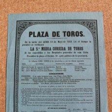 Carteles Toros: CARTEL DE TOROS DE MADRID.19 DE MAYO DE 1851. MANUEL DÍAZ (LABI) Y CAYETANO SANZ.. Lote 192317140