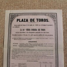 Carteles Toros: CARTEL DE TOROS DE MADRID.15 DE JULIO DE 1850. JOSÉ REDONDO (EL CHICLANERO) Y CAYETANO SANZ.. Lote 192317391