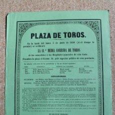 Carteles Toros: CARTEL DE TOROS DE MADRID. 3 DE JUNIO DE 1850. FRANCISCO MONTES, EL CHICLANERO, JULIÁN CASAS, ETC.. Lote 192317525