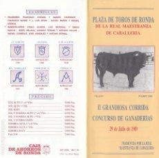 Cartazes Touros: TOROS EN RONDA.AÑO 1989. PROGRAMA DE MANO DÍPTICO.TAMAÑO CERRADO: 21 X 10 CTMS.. Lote 192569376