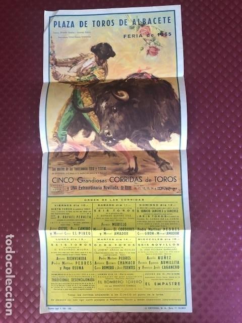 CARTEL PLAZA TOROS DE ALBACETE FERIA DE 1965, CURRO ROMERO EL CORDOBES ,PACO CAMINO ,BIENVENIDA .. (Coleccionismo - Carteles Gran Formato - Carteles Toros)