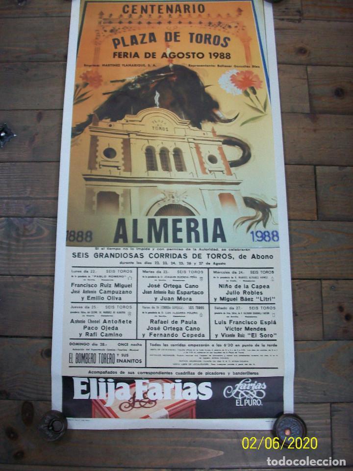 PLAZA DE TOROS DE ALMERIA-AGOSTO 1988-FCO RUIZ MIGUEL-JOSE ANT.CAMPUZANO-JOSE ORTEGA CANO-NIÑO DE LA (Coleccionismo - Carteles Gran Formato - Carteles Toros)