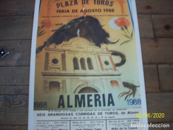 Carteles Toros: PLAZA DE TOROS DE ALMERIA-AGOSTO 1988-FCO RUIZ MIGUEL-JOSE ANT.CAMPUZANO-JOSE ORTEGA CANO-NIÑO DE LA - Foto 3 - 193187771