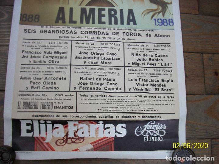Carteles Toros: PLAZA DE TOROS DE ALMERIA-AGOSTO 1988-FCO RUIZ MIGUEL-JOSE ANT.CAMPUZANO-JOSE ORTEGA CANO-NIÑO DE LA - Foto 4 - 193187771