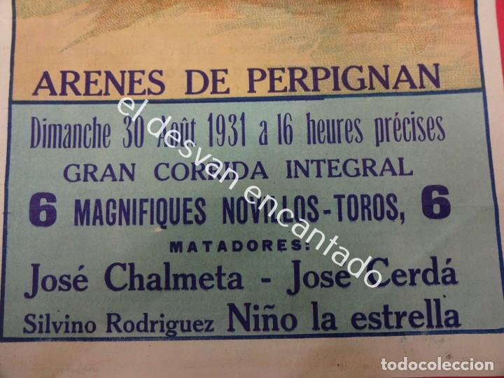 Carteles Toros: Cartel TOROS Plaza Arenes de PERPIGNAN. Agosto 1931. 33 x 16 ctms. Ilust: Roberto Domingo - Foto 2 - 193820263