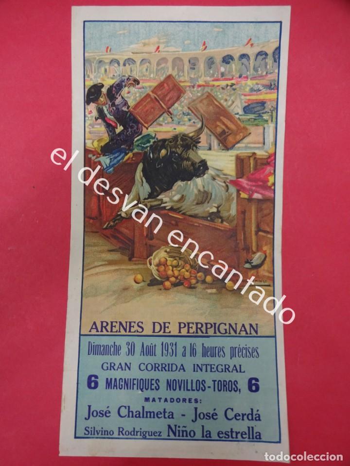 Carteles Toros: Cartel TOROS Plaza Arenes de PERPIGNAN. Agosto 1931. 33 x 16 ctms. Ilust: Roberto Domingo - Foto 3 - 193820263