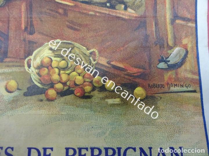 Carteles Toros: Cartel TOROS Plaza Arenes de PERPIGNAN. Agosto 1931. 33 x 16 ctms. Ilust: Roberto Domingo - Foto 4 - 193820263