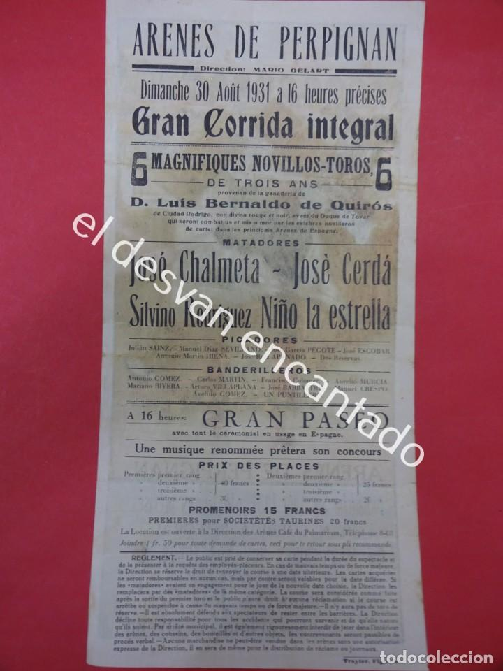 Carteles Toros: Cartel TOROS Plaza Arenes de PERPIGNAN. Agosto 1931. 33 x 16 ctms. Ilust: Roberto Domingo - Foto 5 - 193820263