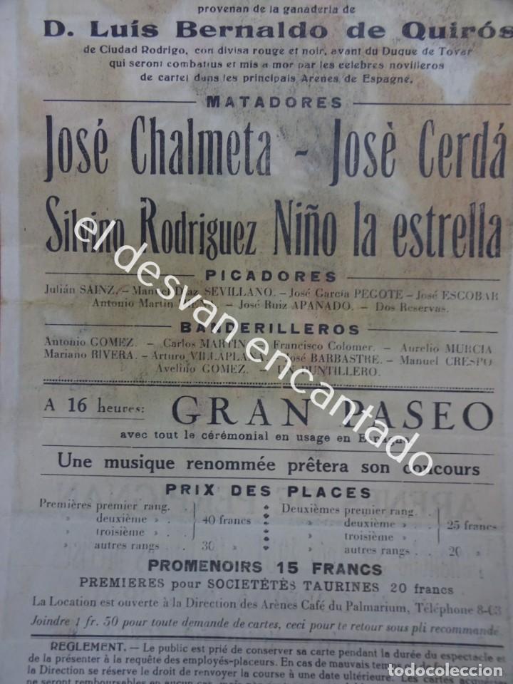 Carteles Toros: Cartel TOROS Plaza Arenes de PERPIGNAN. Agosto 1931. 33 x 16 ctms. Ilust: Roberto Domingo - Foto 7 - 193820263