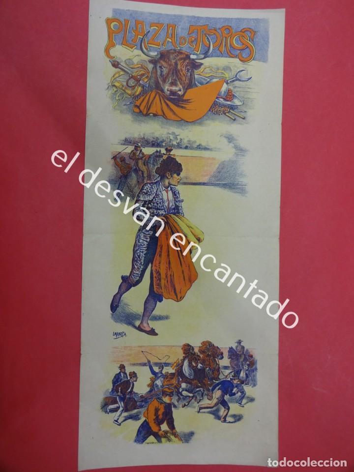 Carteles Toros: Cartel TOROS litográfico ilustrado LABARTA. 43 x 18 ctms. Muy antiguo - Foto 2 - 193820608