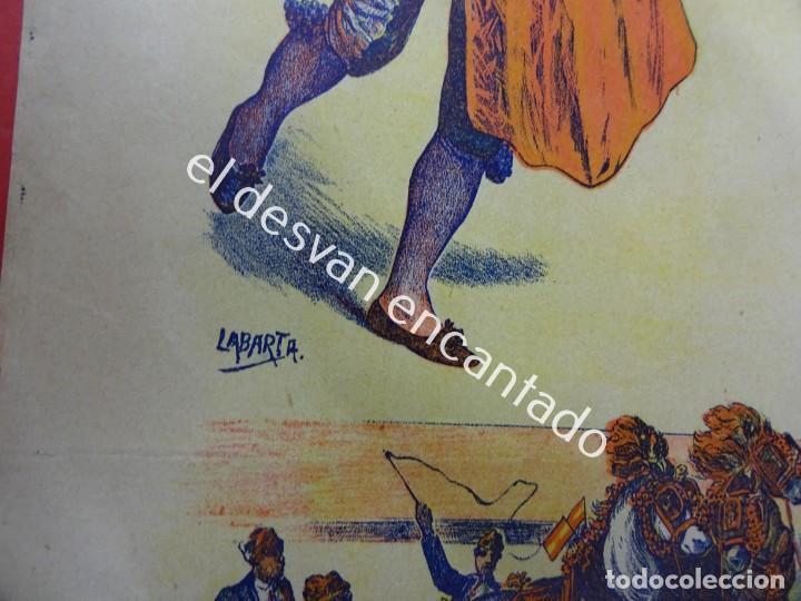 Carteles Toros: Cartel TOROS litográfico ilustrado LABARTA. 43 x 18 ctms. Muy antiguo - Foto 3 - 193820608