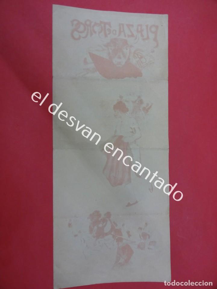Carteles Toros: Cartel TOROS litográfico ilustrado LABARTA. 43 x 18 ctms. Muy antiguo - Foto 4 - 193820608