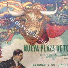 Carteles Toros: CARTEL TOROS NUEVA PLAZA ARENAS DE BARCELONA. AÑO 1913. ILUST: F. LABARTA. 44 X 18 CTMS. Lote 193821112