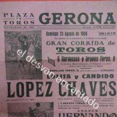 Carteles Toros: CARTEL 40 X 20 CTMS. CORRIDA PLAZA DE TOROS DE GERONA. AÑO 1964. Lote 193996456