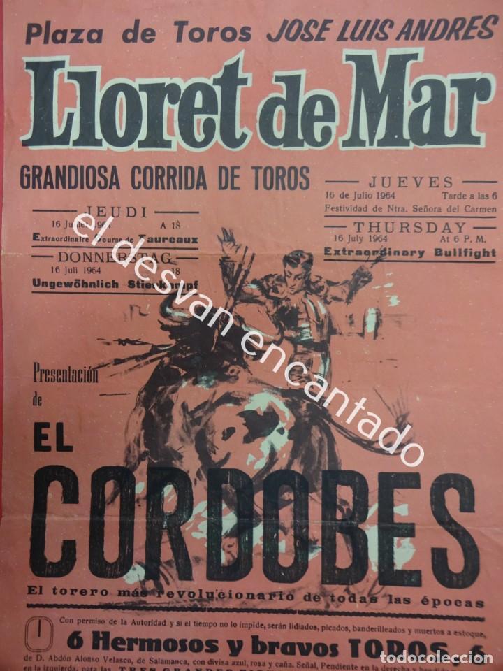 CARTEL 44 X 20 CTMS. CORRIDA PLAZA DE TOROS DE LLORET DE MAR. AÑO 1963. EL CORDOBES (Coleccionismo - Carteles Gran Formato - Carteles Toros)