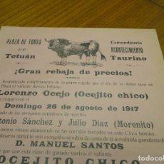 Cartazes Touros: AÑO 1917, CARTEL TOROS PLAZA TETUAN MADRID, DESPARACIDA EXPLOSION GUERRA CIVIL. Lote 194313863