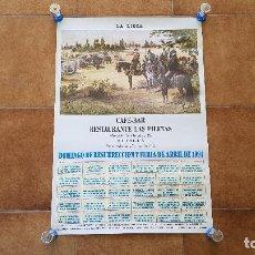 Carteles Toros: CARTEL DE TOROS PUBLICIDAD CAFE-BAR LAS PILETAS (1994) SEVILLA. Lote 194318397