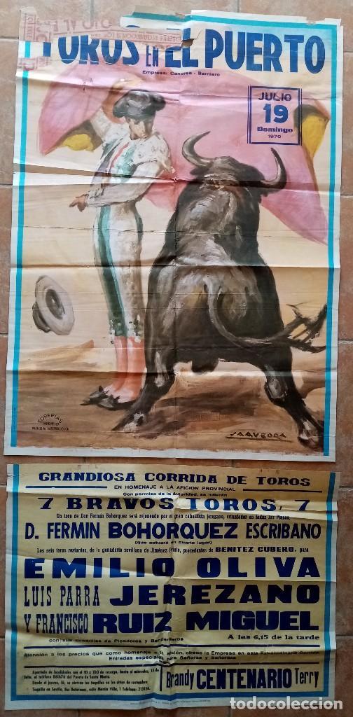 GRAN CARTEL DE TOROS EN EL PUERTO - BOHORQUEZ, EMILIO OLIVA, LUIS PARRA JEREZANO, RUIZ MIGUEL - 1970 (Coleccionismo - Carteles Gran Formato - Carteles Toros)