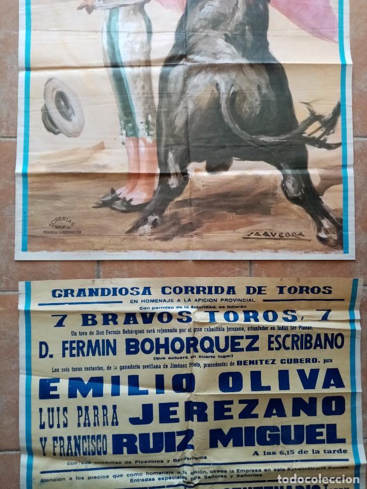 Carteles Toros: GRAN CARTEL DE TOROS EN EL PUERTO - BOHORQUEZ, EMILIO OLIVA, LUIS PARRA JEREZANO, RUIZ MIGUEL - 1970 - Foto 3 - 194320277