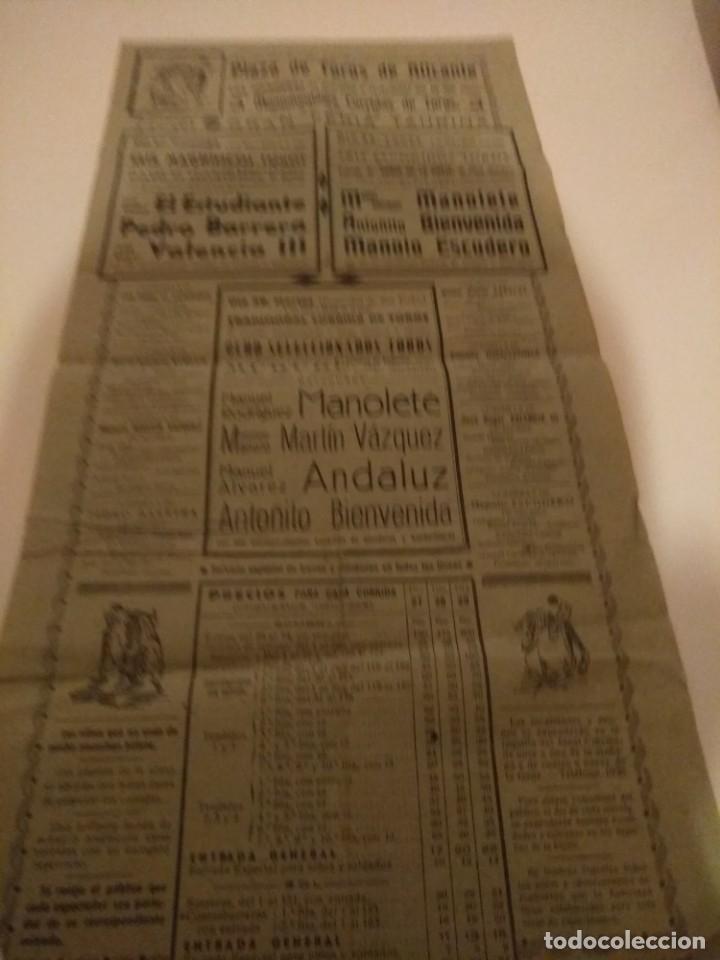 CARTEL DE TOROS,MANOLETE, PLAZA DE TOROS ALICANTE.. (Coleccionismo - Carteles Gran Formato - Carteles Toros)