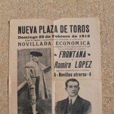 Carteles Toros: CARTEL DE TOROS DE BARCELONA. 23 DE FEBRERO DE 1913. FRONTANA Y RAMIRO LÓPEZ.. Lote 194697905