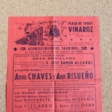 Carteles Toros: CARTEL DE TOROS DE VINAROZ. 28 Y 29 DE AGOSTO DE 1965.ANTONIO CHAVES Y ÁNGEL RISUEÑO. Lote 194698102
