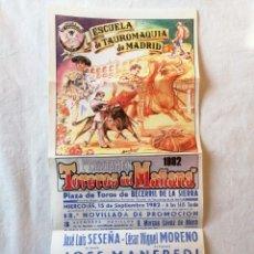 Carteles Toros: CARTEL ESCUELA DE TAUROMAQUIA MADRID PLAZA DE TOROS BECERRIL DE LA SIERRA 15 Y 17 SEPTIEMBRE 1982. Lote 194735310