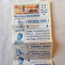 Carteles Toros: CARTEL PLAZA DE TOROS NAVACERRADA MADRID SEPTIEMBRE 1982 HOMBRADO ARROCHA ESPLA EL FUNDI JOSELITO. Lote 194736103