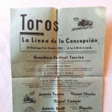 Carteles Toros: CARTEL PLAZA TOROS LA LINEA DE LA CONCEPCION CADIZ 1952 ANTONIO TOSCANO VINCENT CHARLES MIGUELIN. Lote 194737873