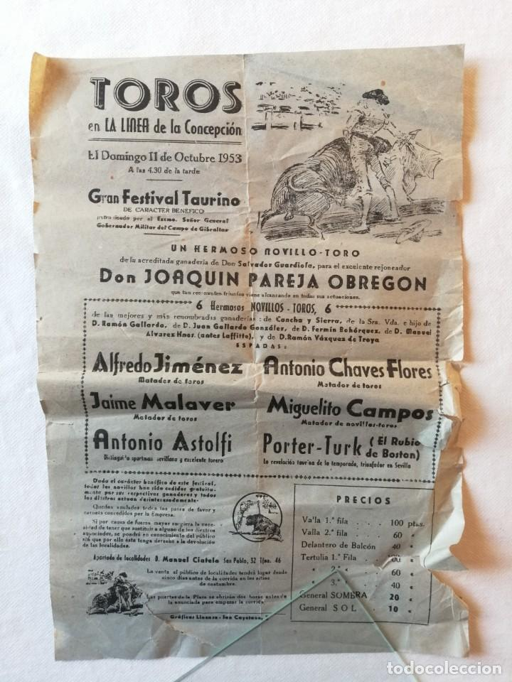 CARTEL PLAZA TOROS LA LINEA DE LA CONCEPCION CADIZ 1953 JOAQUIN PAREJA OBREGON ALFREDO JIMENEZ (Coleccionismo - Carteles Gran Formato - Carteles Toros)
