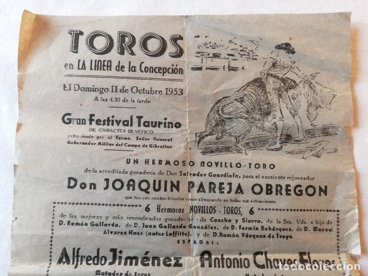 Carteles Toros: CARTEL PLAZA TOROS LA LINEA DE LA CONCEPCION CADIZ 1953 JOAQUIN PAREJA OBREGON ALFREDO JIMENEZ - Foto 2 - 194739540