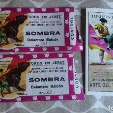 Carteles Toros: 2 ENTRADA DE TORO PLAZA DE JEREZ 31 DE JULIO 1988 Y FOLLETO INFORMATIVO . Lote 195082105