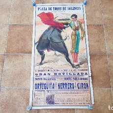 Carteles Toros: CARTEL PLAZA DE TOROS DE VALENCIA (1961) ORTEGUITA, HERRERO, GIRON. Lote 195271061