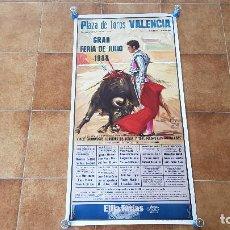 Carteles Toros: CARTEL PLAZA DE TOROS DE VALENCIA (1988) LITRI, EL SORO, ESPARTACO, ORTEGA CANO.... Lote 195303597