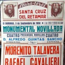 Carteles Toros: 1950 SANTA CRUZ DEL RETAMAR MORENITO DE TALAVERA Y RAFAEL CAVALIERI 90 CM.. Lote 195413180