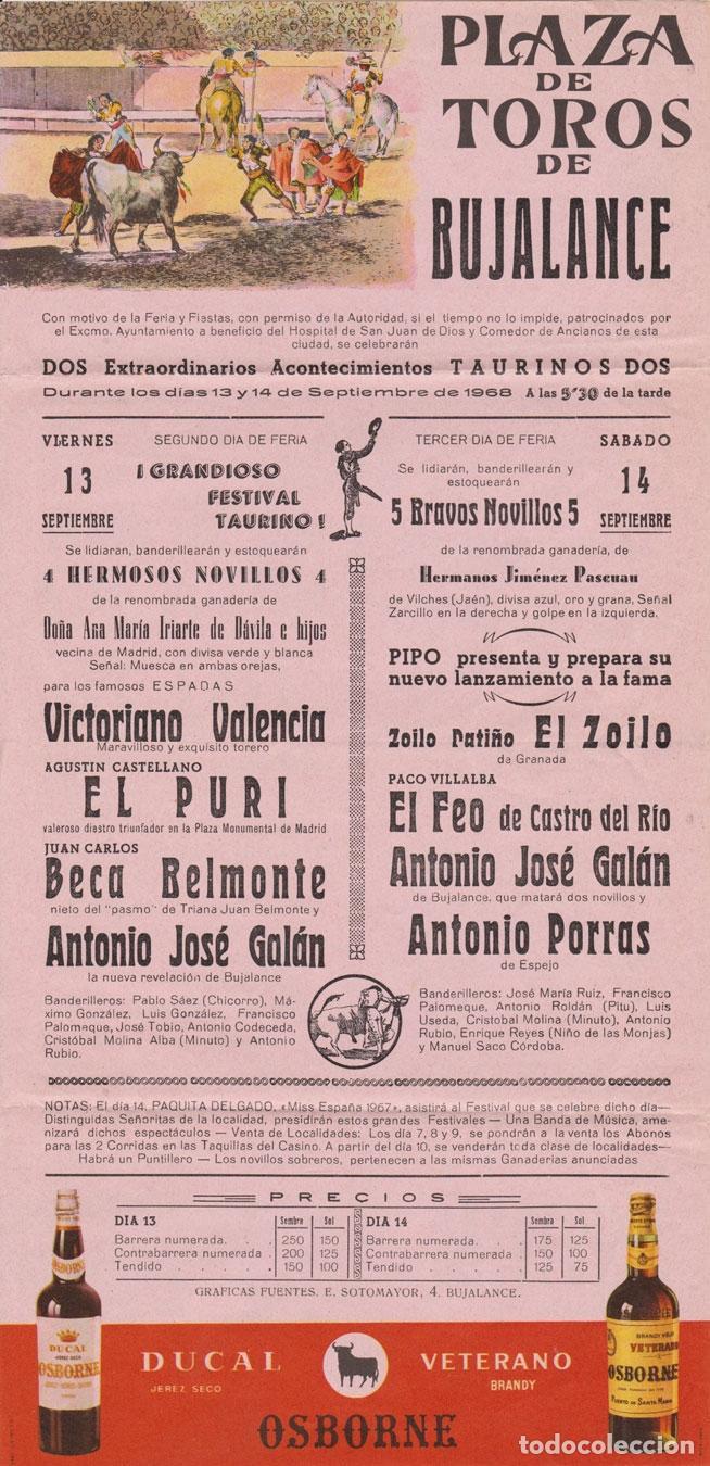CARTEL DE TOROS DE BUJALANCE (CORDOBA) - 13 Y 14 DE SEPTIEMBRE DE 1968 - (42X20,5) (Coleccionismo - Carteles Gran Formato - Carteles Toros)