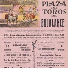 Carteles Toros: CARTEL DE TOROS DE BUJALANCE (CORDOBA) - 13 Y 14 DE SEPTIEMBRE DE 1968 - (42X20,5). Lote 195414035