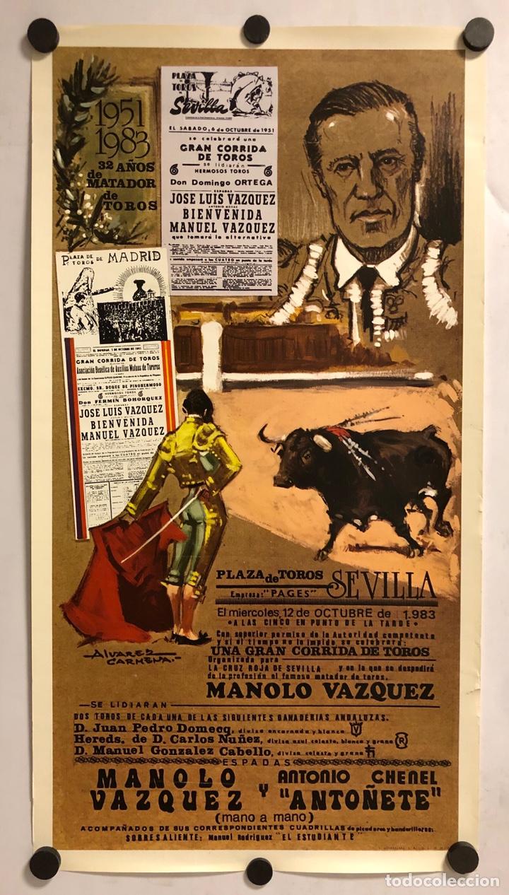 CARTEL RETIRADA DEFINITIVA RUEDOS MANOLO VÁZQUEZ (MAESTRANZA,SEVILLA) EN 1983. CON ANTOÑETE (Coleccionismo - Carteles Gran Formato - Carteles Toros)