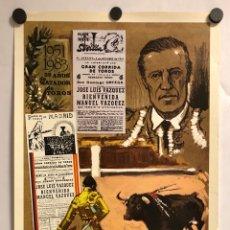Affissi Tauromachia: CARTEL RETIRADA DEFINITIVA RUEDOS MANOLO VÁZQUEZ (MAESTRANZA,SEVILLA) EN 1983. CON ANTOÑETE. Lote 195978652