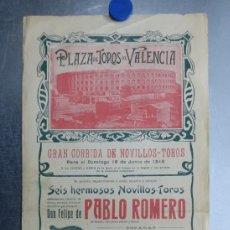 Carteles Toros: CARTEL TOROS - VALENCIA - JUNIO DE 1916 - CHANITO, VERNIA, ZARCO - PABLO ROMERO. Lote 196638188