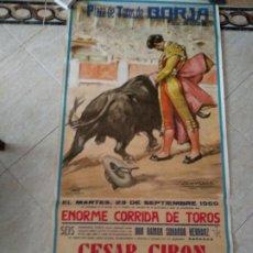 Carteles Toros: GRAN CARTEL DE TOROS AÑO 1969 BORJA, ZARAGOZA. 155×75CM, GRAFICAS VELASCO, TORERIAS, S.A.. Lote 196965637