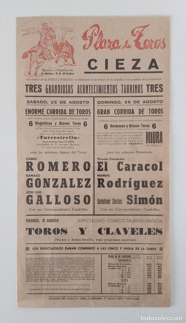 CARTEL PLAZA DE TOROS CIEZA MURCIA AGOSTO 1973. CURRO ROMERO, DAMASO ROMERO, GALLOSO,....... W (Coleccionismo - Carteles Gran Formato - Carteles Toros)