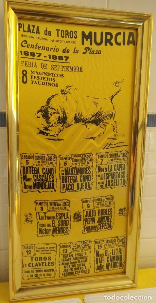 Carteles Toros: CARTEL DE SEDA CENTENARIO PLAZA DE TOROS DE MURCIA - Foto 2 - 198604777